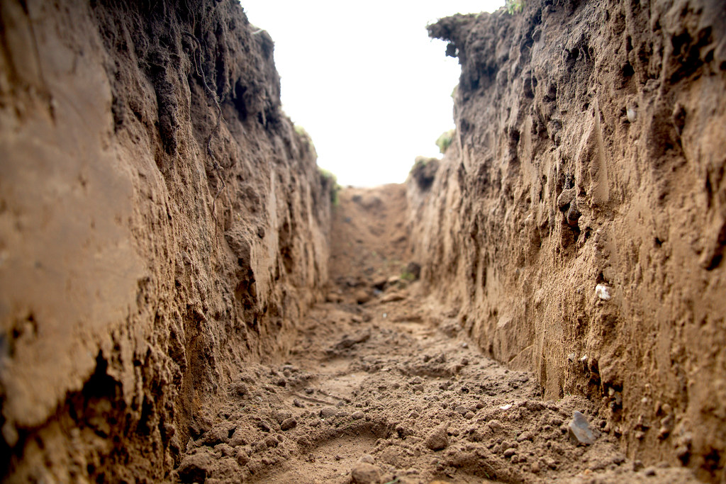 An empty construction trench