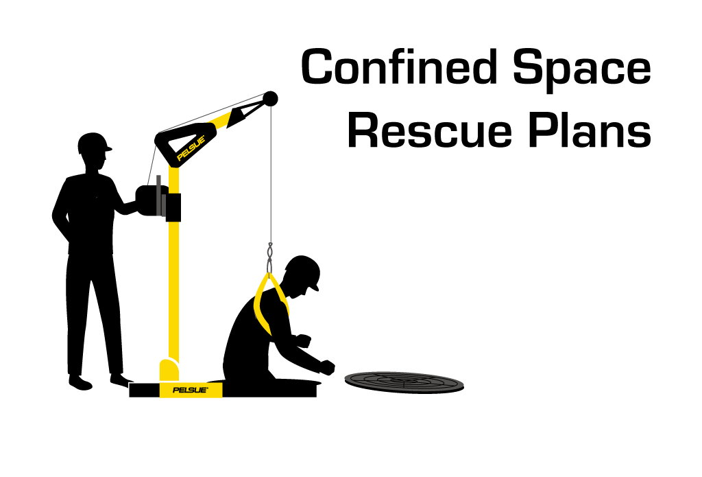 Illustration of a confined space rescue using a Pelsue Davit System